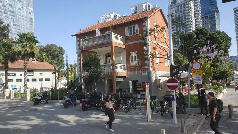 Neibourhood di Sarona a Tel Aviv urbana concentrare Israele fotografia stock