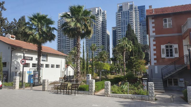 Neibourhood Sarona στο κέντρο αστικό Τελ Αβίβ Ισραήλ στοκ φωτογραφία