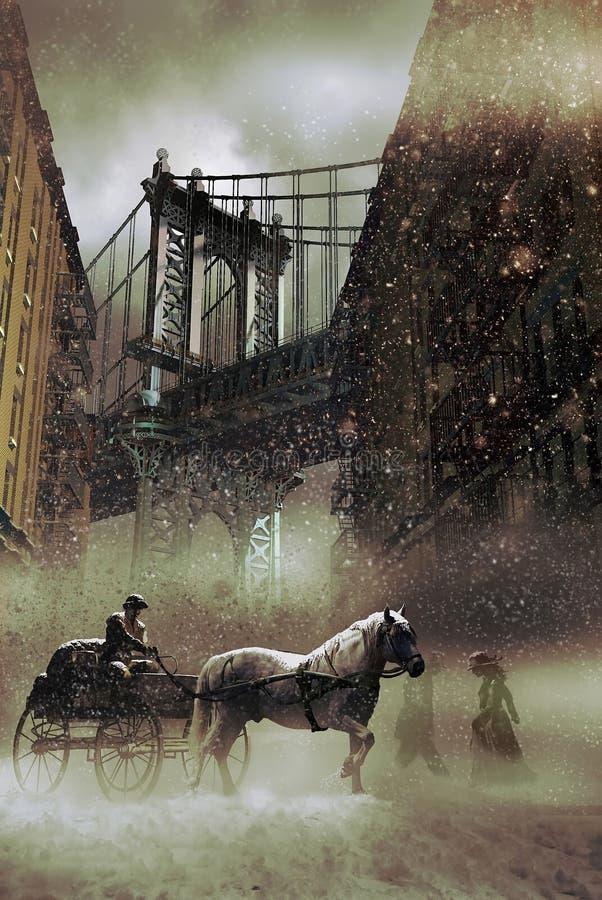 Neige à New York illustration de vecteur