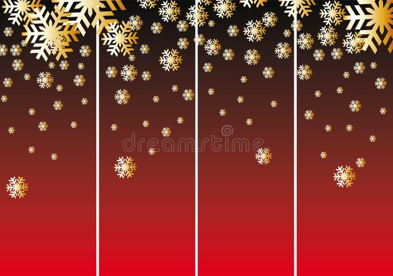 Neige abstraite de Noël sur le fond rouge, vecteur illustration stock