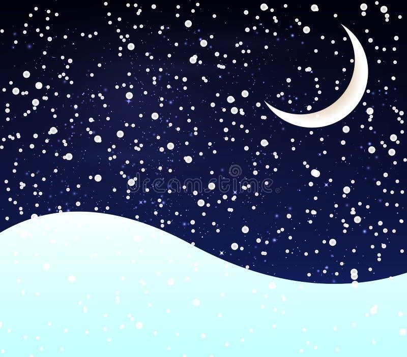 Neige au croissant de nuit illustration libre de droits
