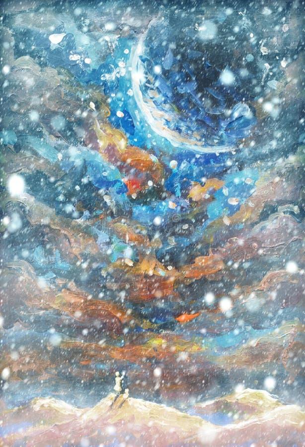Neige Background Flocons de neige brouillés sur la peinture à l'huile originale - Noël illustration de vecteur