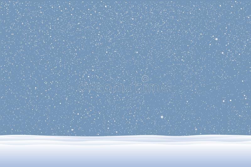 Neige blanche de vecteur tombant sur le fond bleu photographie stock