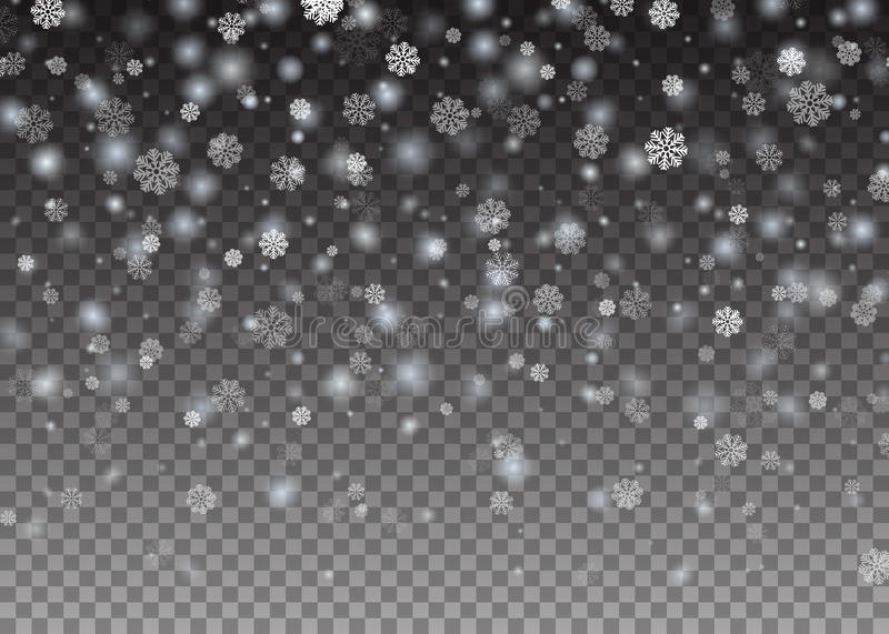 Neige brillante en baisse de Noël de flocon de neige belle sur le fond transparent Flocons de neige, chutes de neige Illustration illustration stock