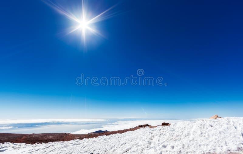 Neige canarienne à l'EL Teide Pico image libre de droits