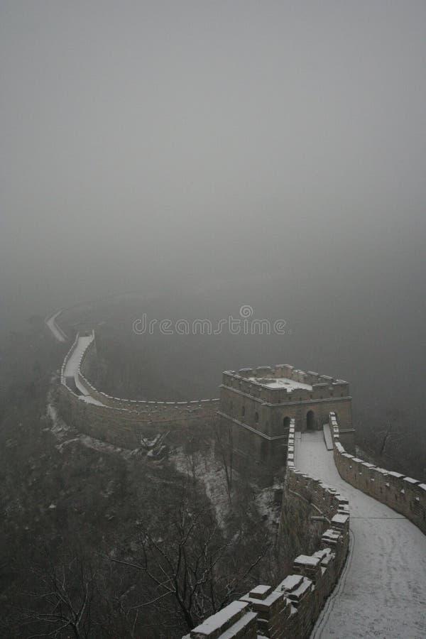 Neige d'hiver sur la Grande Muraille photo stock