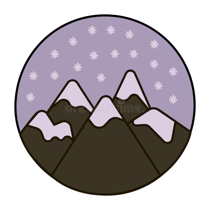 Neige dans l'icône de montagnes illustration de vecteur