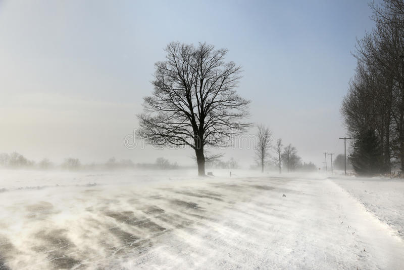 Neige de dérive à travers la route Photo verticale photographie stock libre de droits