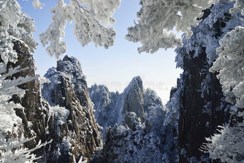 Neige de Huangshan de bâti photo libre de droits