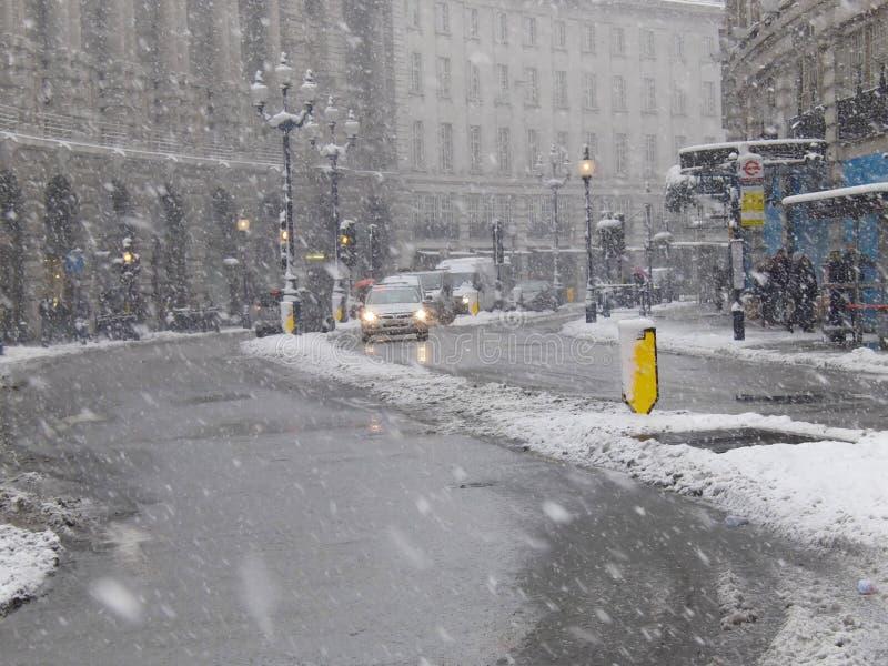 Neige de Londres de rue de réactif images libres de droits