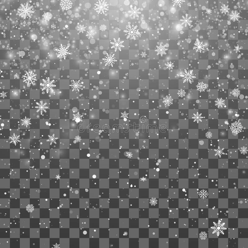 Neige de Noël Fond magique de chutes de neige de nouvelle année Flocons de neige en baisse sur le fond foncé Chutes de neige abst illustration stock