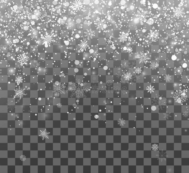 Neige de Noël Fond magique de vacances Flocons de neige en baisse sur le fond foncé Chutes de neige abstraites Illustration de ve illustration libre de droits