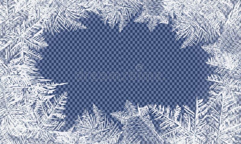 Neige de Noël tombante Flocon de neige isolé sur fond transparent Motifs vectoriels fabriqués par le bleu glacé Contexte hivernal illustration stock
