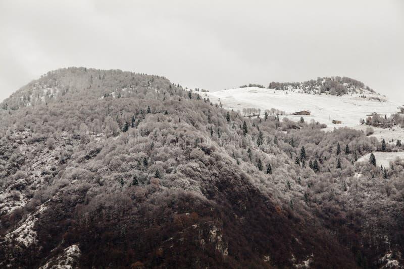 Neige de paysage de montagne demi et ciel gris image libre de droits