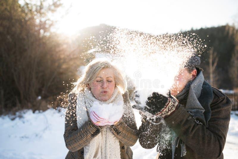 Neige de soufflement de beaux couples supérieurs en nature ensoleillée d'hiver photo stock