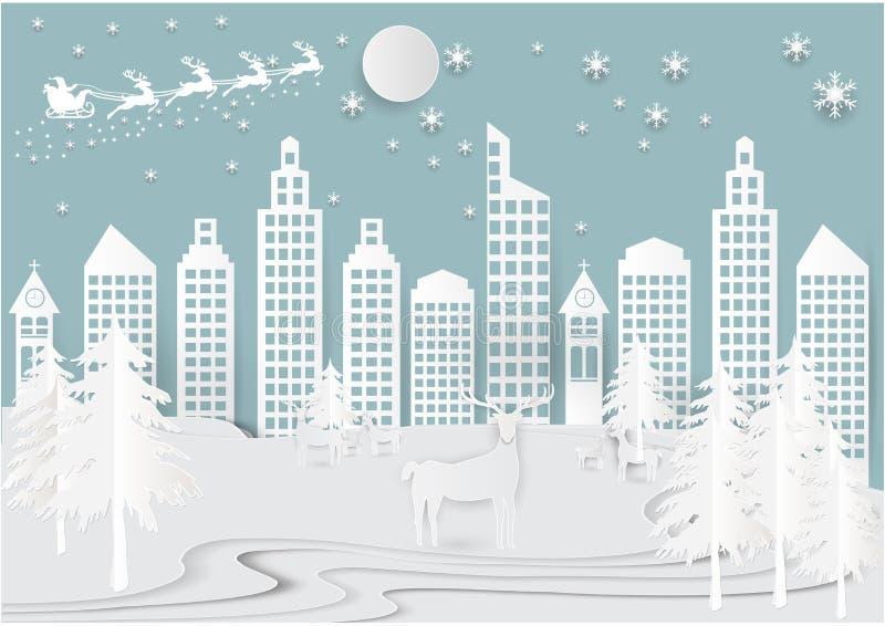 Neige de vacances d'hiver à l'arrière-plan de ville de ville avec Santa, cerfs communs et arbre Illustration de style d'art de pa illustration libre de droits