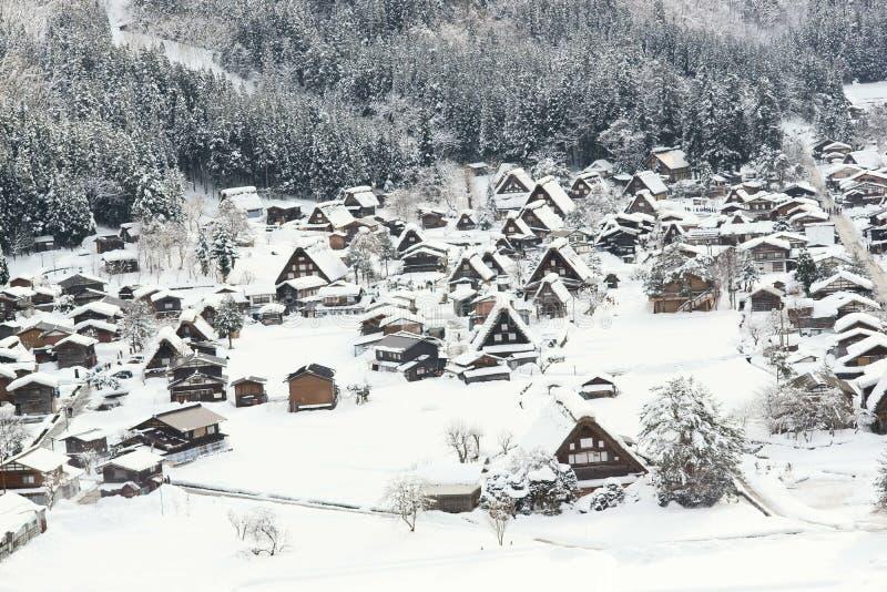 Neige des villages historiques de Shirakawa-g? et de Gokayama images stock