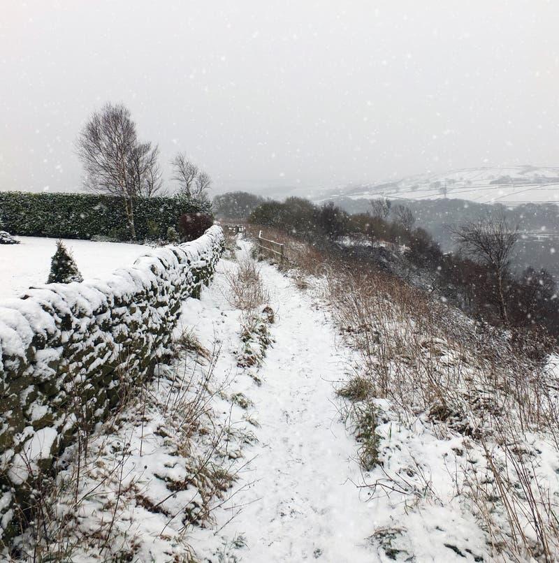 Neige en baisse sur un chemin de flanc de coteau avec la pierre tous et arbre éloigné image stock