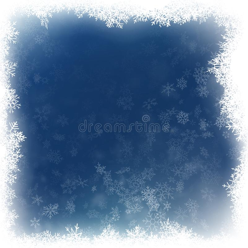 Neige en baisse sur un fond bleu Flocon de neige et fond blancs abstraits d'étincelles ENV 10 illustration libre de droits