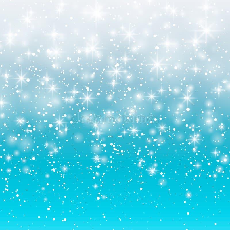 Neige en baisse sur un fond bleu Illustration 10 ENV de vecteur Fond blanc abstrait de flocon de neige de scintillement Sn magiqu illustration libre de droits