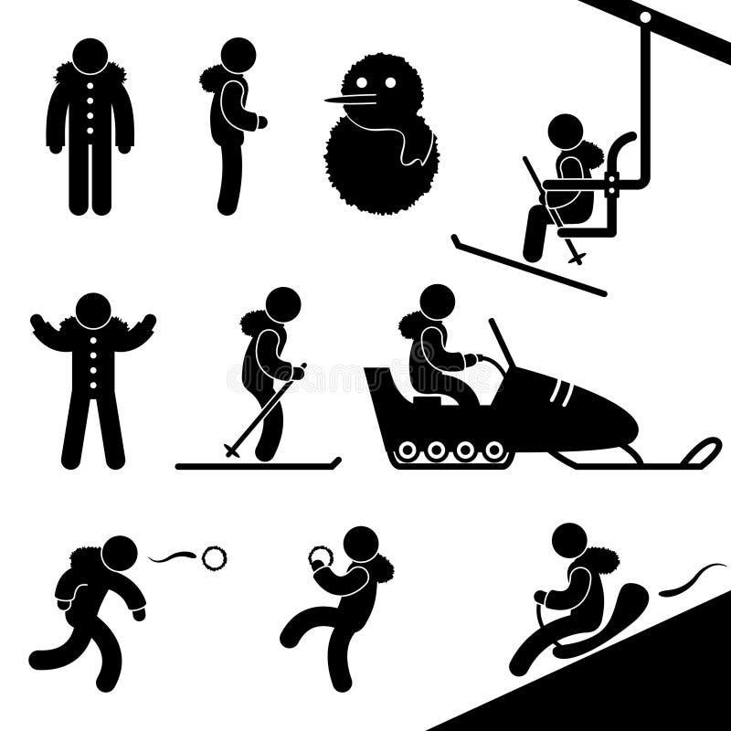 Neige F de Snowmobile de ski de télésiège d'activité de l'hiver illustration stock