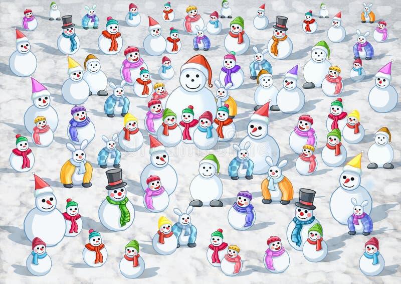 Neige froide beaucoup neige chaude illustration libre de droits