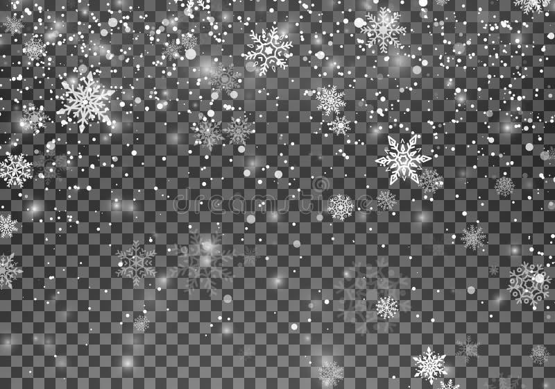 Neige magique de Noël Fond abstrait de vacances de chutes de neige Flocons de neige en baisse sur le fond foncé Illustration de v illustration de vecteur
