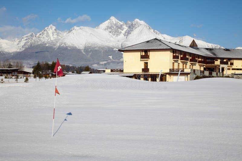 Neige sur la zone de golf images libres de droits