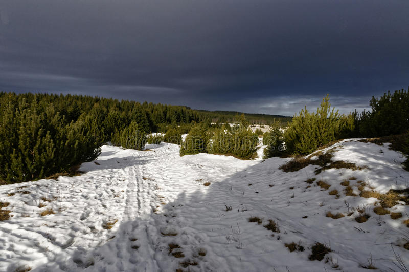Neige sur le chemin de terre images libres de droits