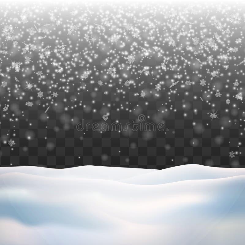 Neige sur le fond transparent Chutes de neige d'hiver illustration libre de droits