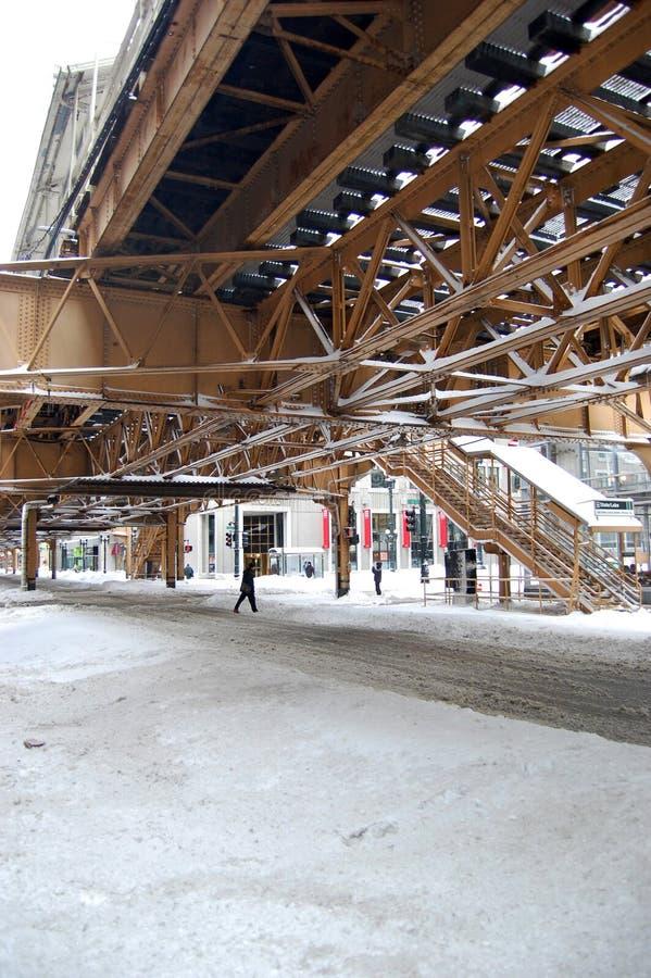 Neige sur les rues de Chicago après tempête principale photographie stock