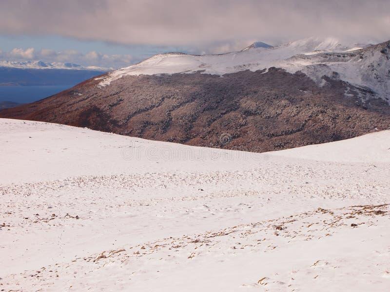Neige tôt d'automne dans les montagnes de l'île de Navarino, province de Chilien Antarctique, Chili images stock