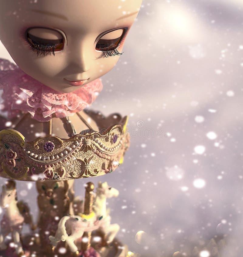 Neige tombant sur le carrousel d'or avec une tête dollish là-dessus images libres de droits