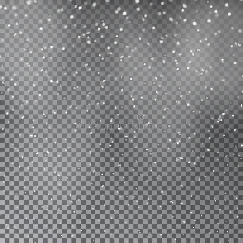 Neige transparente brillante en baisse de Noël belle d'isolement sur le fond transparent Flocons de neige illustration stock