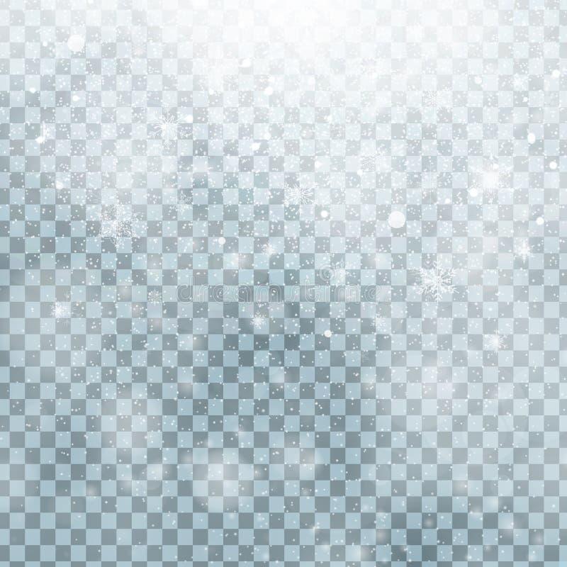 Neige transparente brillante en baisse de Noël belle d'isolement sur un fond transparent Flocons de neige, chutes de neige illustration de vecteur