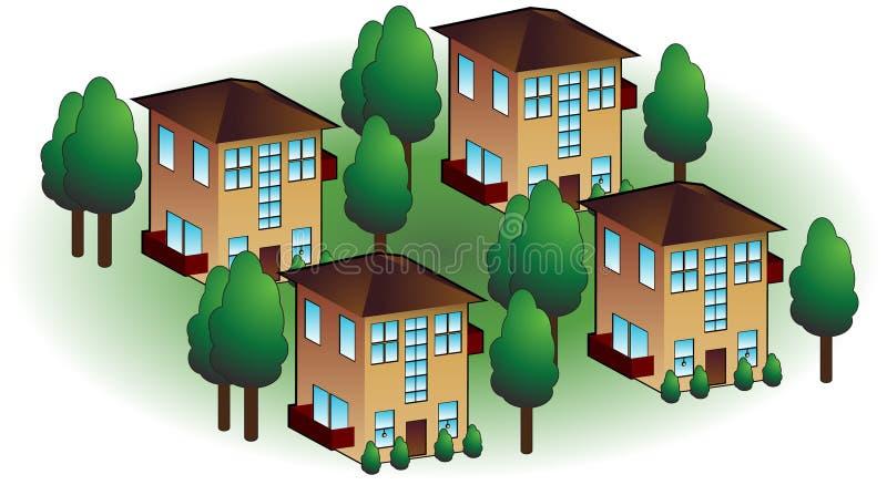 Neighborhood Apartments. Isolated on a white background stock illustration