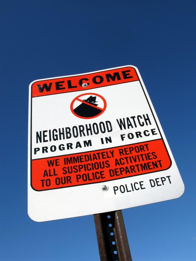 Neighborhood Crime Watch Police Warning Sign stock photography