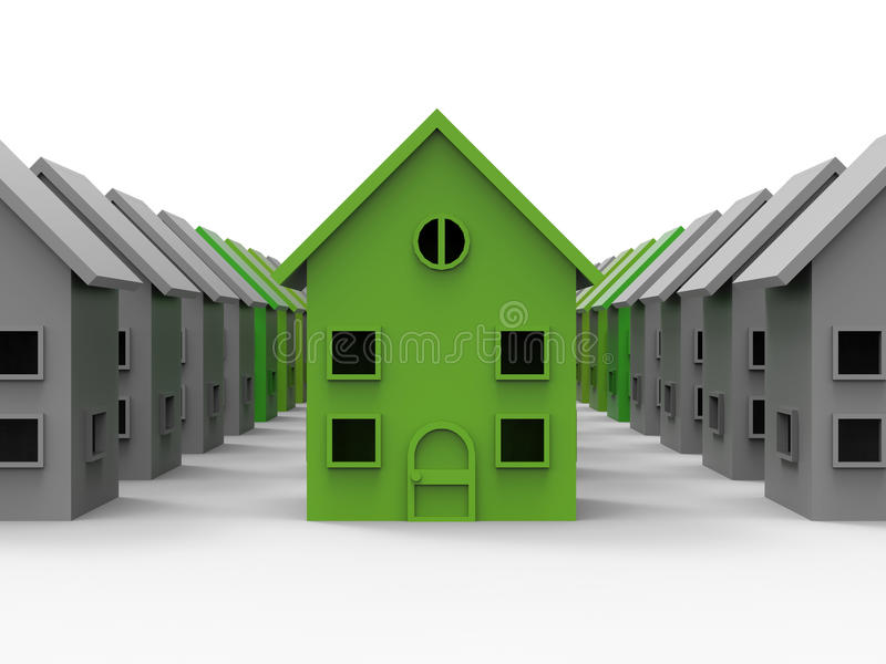 Neighborhood energy efficient house. 3D render illustration of multiple houses. The image can be used to highlight the most energy efficient house in a stock illustration