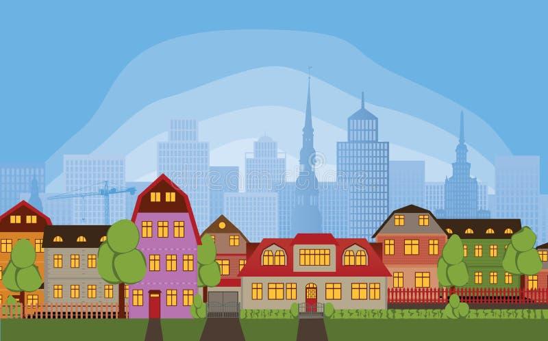 Neighborhood houses royalty free illustration