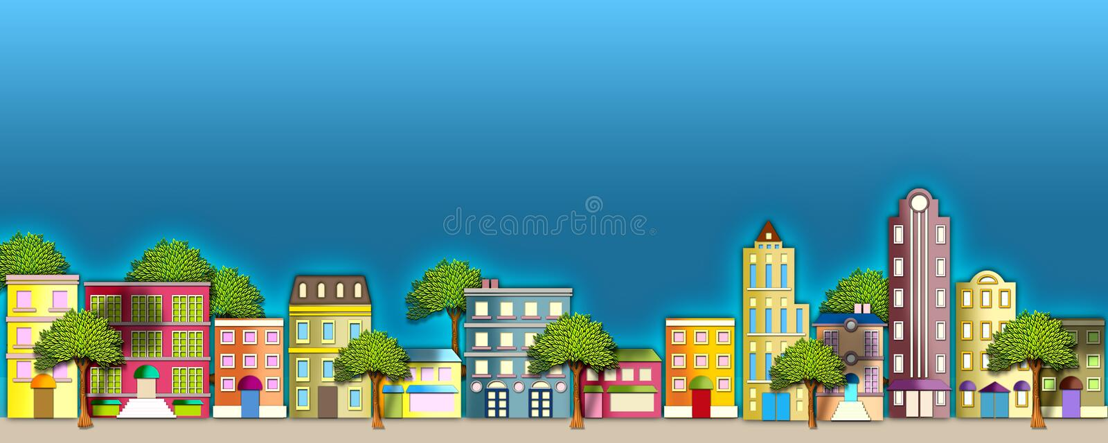 Neighborhood illustration. A colorful illustration of a quaint street scene with apartment houses & beautiful trees