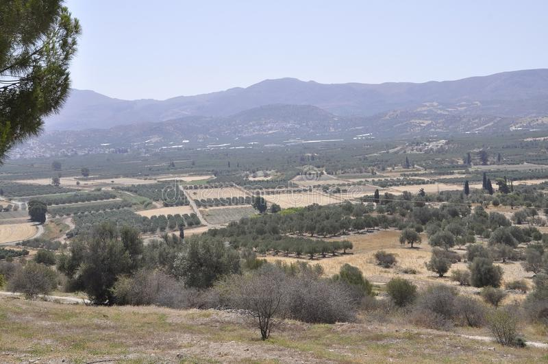 Neighborhood landscape of Festos Archaelogical Site from Crete island stock photography
