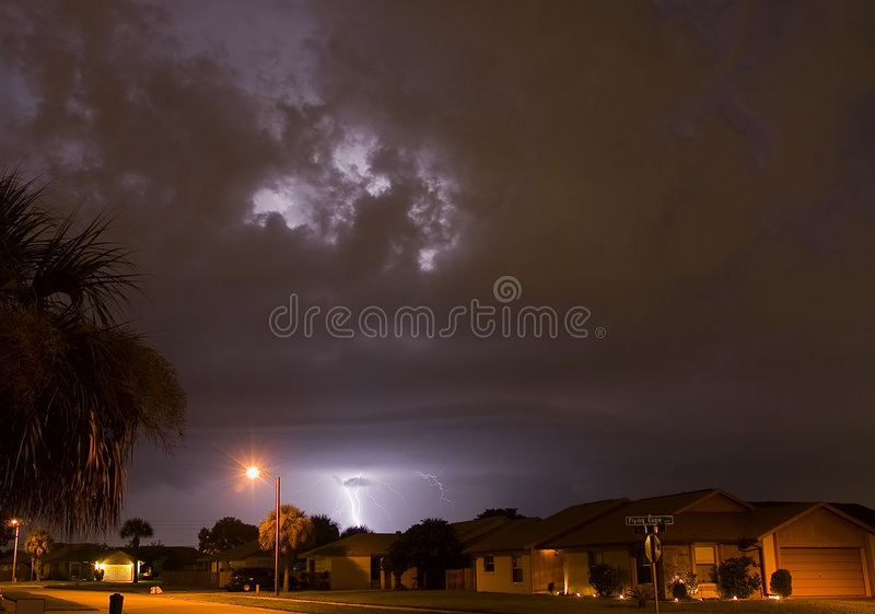 Neighborhood lightning strike stock image