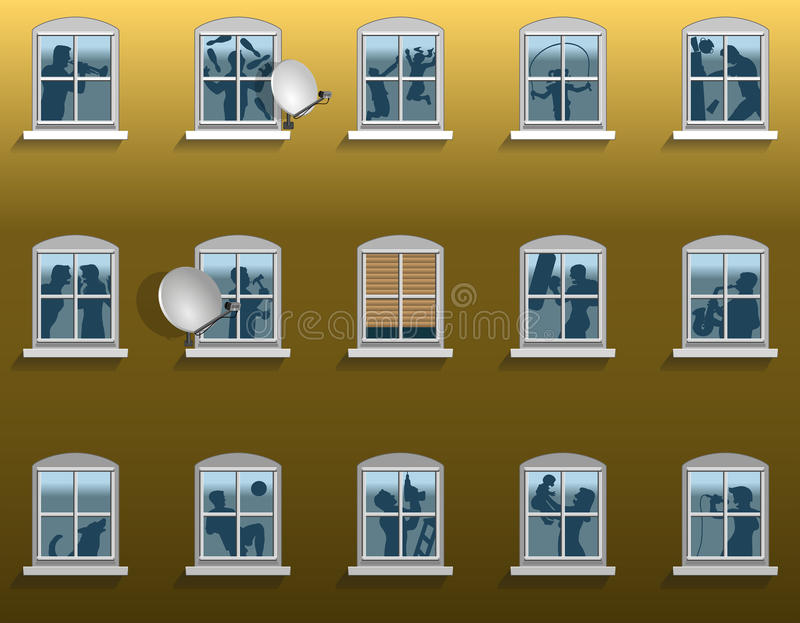 Neighborhood Noise. In an apartment building - silhouettes of loud neighbors and their varying kinds of annoying din. Vector illustration on gradient background vector illustration