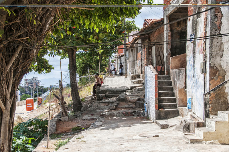 Neighborhood poor and neglected. Community of the city center that will be expropriated and removed because of the World Cup 2014, Fortaleza, Brazil stock photos