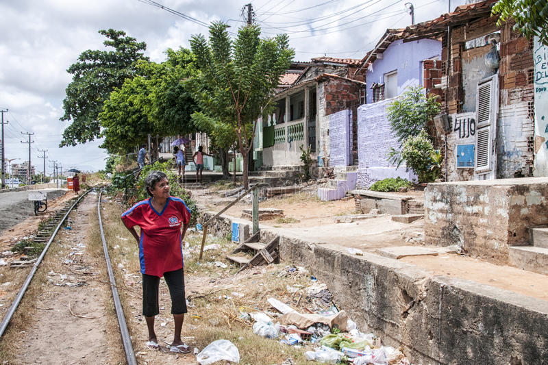 Neighborhood poor and neglected. Community of the city center that will be expropriated and removed because of the World Cup 2014, Fortaleza, Brazil royalty free stock photos