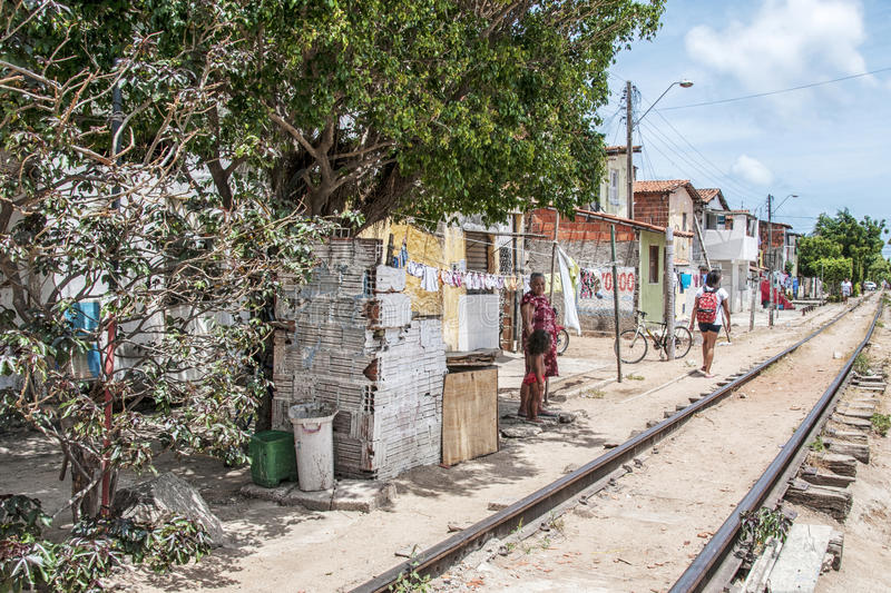 Neighborhood poor and neglected. Community of the city center that will be expropriated and removed because of the World Cup 2014, Fortaleza, Brazil royalty free stock image