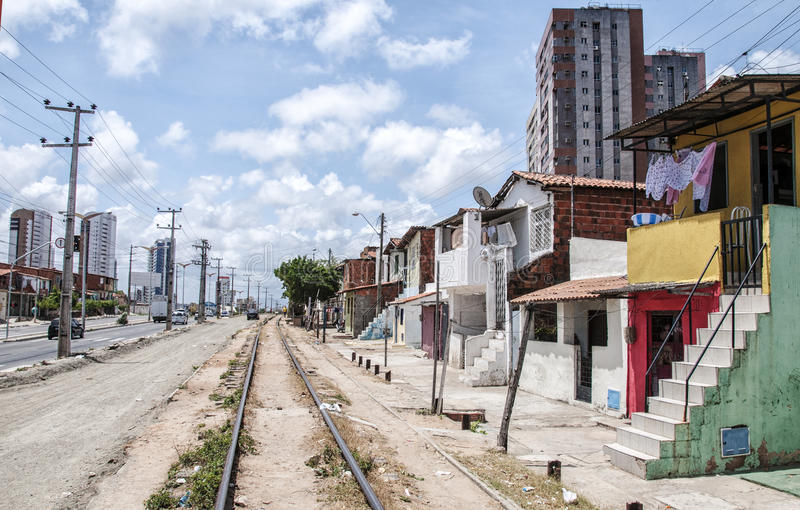 Neighborhood poor and neglected. Community of the city center that will be expropriated and removed because of the World Cup 2014, Fortaleza, Brazil stock images