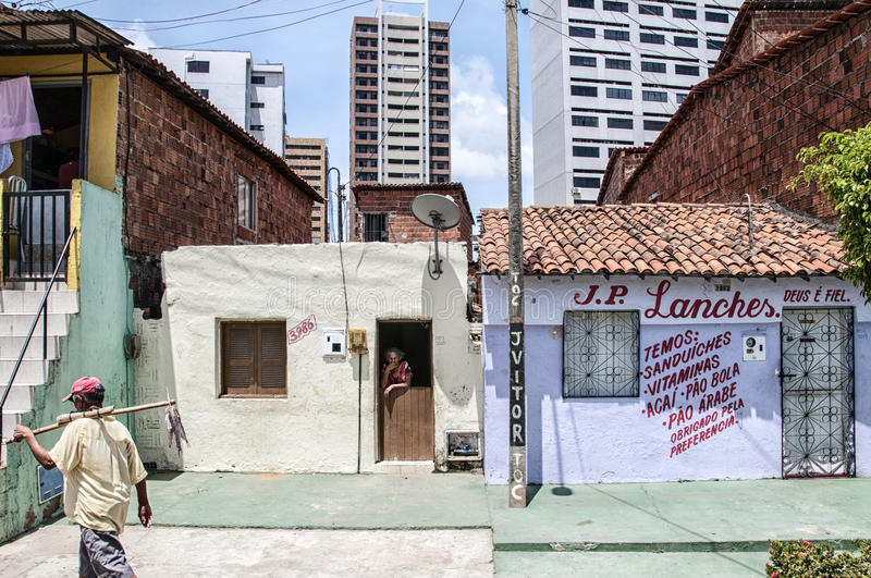 Neighborhood poor and neglected. Community of the city center that will be expropriated and removed because of the World Cup 2014, Fortaleza, Brazil royalty free stock photo