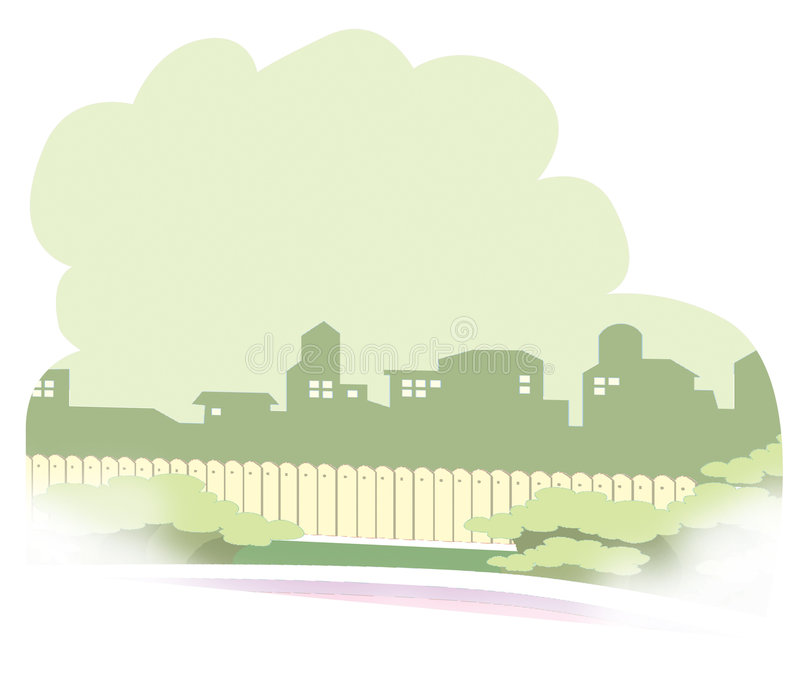 Download Neighborhood scape stock illustration. Illustration of silhouette - 7300714