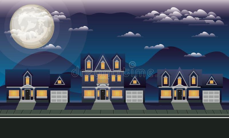 Neighborhood street with houses at night scene royalty free illustration